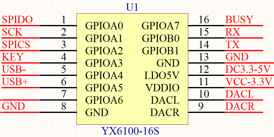 YX6100-16S引脚功能